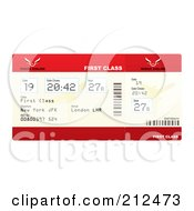 Royalty Free RF Clipart Illustration Of A Red First Class Plane Ticket