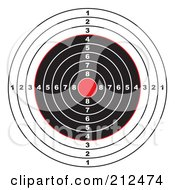 Royalty Free RF Clipart Illustration Of A White Black And Red Rifle Target by michaeltravers