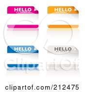 Royalty Free RF Clipart Illustration Of A Digital Collage Of Pink Orange Blue And White My Name Is Stickers by michaeltravers