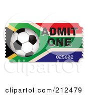 Royalty Free RF Clipart Illustration Of A Soccer Ball And South African Admit One Ticket by michaeltravers
