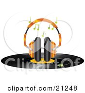 Pair Of Orange Headphones Playing Music On Top Of A Vinyl Record Disc On A White Background