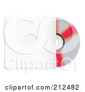 Royalty Free RF Clipart Illustration Of A Reflective Red And Silver Cd Emerging From A Sleeve by michaeltravers