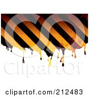 Royalty Free RF Clipart Illustration Of Grungy Dripping Hazard Stripes by michaeltravers