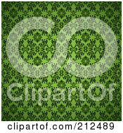 Royalty Free RF Clipart Illustration Of A Green Seamless Gothic Pattern Background by michaeltravers
