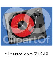 Clipart Illustration Of A Red Record Spinning In A Record Player Over A Blue Background by elaineitalia