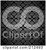 Royalty Free RF Clipart Illustration Of A Silver Leaf Gothic Pattern On Black Background by michaeltravers