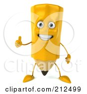 Royalty Free RF Clipart Illustration Of A 3d Pencil Character Holding A Thumb Up by Julos