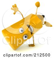 Royalty Free RF Clipart Illustration Of A 3d Pencil Character Doing A Hand Stand by Julos