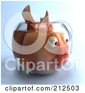 Royalty Free RF Clipart Illustration Of A 3d Pink Fish In A Bowl Facing Right