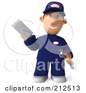 Royalty Free RF Clipart Illustration Of A 3d Toon Guy Auto Mechanic Holding A Letter 1