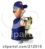 Royalty Free RF Clipart Illustration Of A 3d Toon Guy Auto Mechanic Facing Right With A Trophy