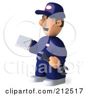Royalty Free RF Clipart Illustration Of A 3d Toon Guy Auto Mechanic Holding A Letter 3