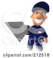 Royalty Free RF Clipart Illustration Of A 3d Toon Guy Auto Mechanic Holding A Letter 2