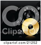 Clipart Illustration Of A Golden Vinyl Record Rolling On A Reflective Surface Over A Black Background With Black Records by elaineitalia