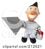 Royalty Free RF Clipart Illustration Of A 3d Toon Guy House Painter Holding Mail 2