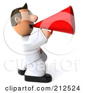 Royalty Free RF Clipart Illustration Of A 3d Toon Guy House Painter Using A Megaphone