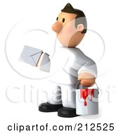 Royalty Free RF Clipart Illustration Of A 3d Toon Guy House Painter Holding Mail 3