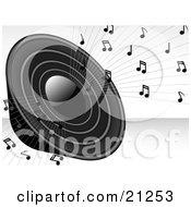 Poster, Art Print Of Loud Black Radio Speaker Blaring Loud Music With Notes