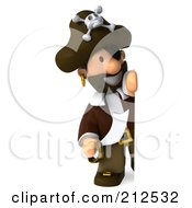 Royalty Free RF Clipart Illustration Of A 3d Young Pirate Looking Around A Blank Sign With A Sword by Julos