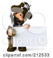 Royalty Free RF Clipart Illustration Of A 3d Young Pirate Smiling Down At And Holding A Blank Sign by Julos