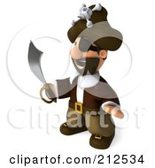 Royalty Free RF Clipart Illustration Of A 3d Young Pirate Facing Left With A Curved Sword by Julos