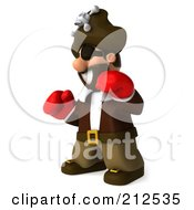 Royalty Free RF Clipart Illustration Of A 3d Young Pirate Boxing With Red Gloves 2 by Julos