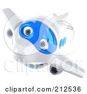 Royalty Free RF Clipart Illustration Of A 3d Blue And White Airplane Descending