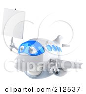 Royalty Free RF Clipart Illustration Of A 3d Blue And White Airplane Facing Left And Carrying A Blank Sign