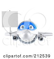 Royalty Free RF Clipart Illustration Of A 3d Blue And White Airplane Facing Front And Carrying A Blank Sign
