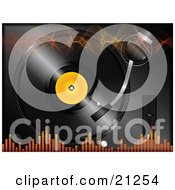 Orange Sound Waves And Equalizer Volume Lines Over A Background Of A Vinyl Record Playing