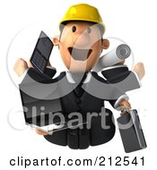 Royalty Free RF Clipart Illustration Of A 3d Architect Man Multi Tasking 1