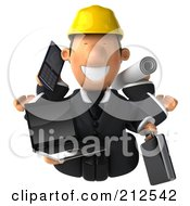 Royalty Free RF Clipart Illustration Of A 3d Architect Man Multi Tasking 2
