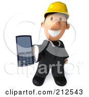 Royalty Free RF Clipart Illustration Of A 3d Architect Man Facing Front And Holding Out A Cell Phone by Julos