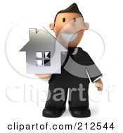 Royalty Free RF Clipart Illustration Of A 3d Realtor Guy Holding A Silver House And Facing Front