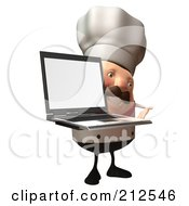 Royalty Free RF Clipart Illustration Of A 3d Chubby Chef Steve With A Laptop