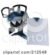 Royalty Free RF Clipart Illustration Of A 3d Blue Shark Businessman Holding A Blank Document by Julos