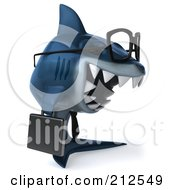 Royalty Free RF Clipart Illustration Of A 3d Blue Shark Businessman Wearing Glasses And Facing Right