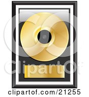 Poster, Art Print Of Gold Music Disc Framed With A Blank Label