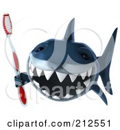 Royalty Free RF Clipart Illustration Of A 3d Blue Shark Holding A Tooth Brush