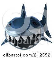 Royalty-Free Rf Clipart Illustration Of A 3d Blue Shark Swimming Forward