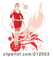 Royalty Free RF Clipart Illustration Of A Stylish Christmas Woman Chewing On Her Glasses With Foliage