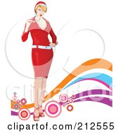 Royalty Free RF Clipart Illustration Of A Stylish Christmas Woman Chewing On Her Glasses Over Colorful Waves And Bubbles