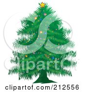 Royalty Free RF Clipart Illustration Of A Trimmed Green Christmas Tree by YUHAIZAN YUNUS