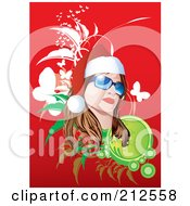 Royalty Free RF Clipart Illustration Of A Christmas Woman Wearing Shades And A Santa Hat Over Red With Foliage And Butterflies by YUHAIZAN YUNUS