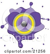 Clipart Illustration Of A Purple Stereo Speaker With Grunge Splatters On A White Background by elaineitalia