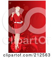 Royalty Free RF Clipart Illustration Of A Christmas Woman Chewing On Her Glasses Over Red Foliage by YUHAIZAN YUNUS