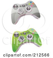 Royalty Free RF Clipart Illustration Of A Digital Collage Of Green And Gray Video Game Controller With Buttons And Knobs