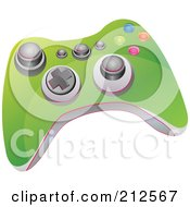 Royalty Free RF Clipart Illustration Of A Green Video Game Controller With Buttons And Knobs