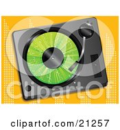 Clipart Illustration Of A Green Record Playing In A Record Player Over An Orange Background by elaineitalia