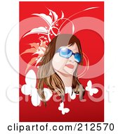 Brunette Woman With Shades Over Red With Foliage And Butterflies